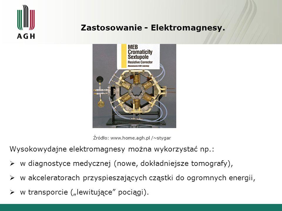 Zastosowanie - Elektromagnesy. Wysokowydajne elektromagnesy można wykorzystać np.:  w diagnostyce medycznej (nowe, dokładniejsze tomografy),  w akce