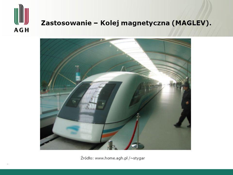 Zastosowanie – Kolej magnetyczna (MAGLEV). Źródło: www.home.agh.pl /~stygar.