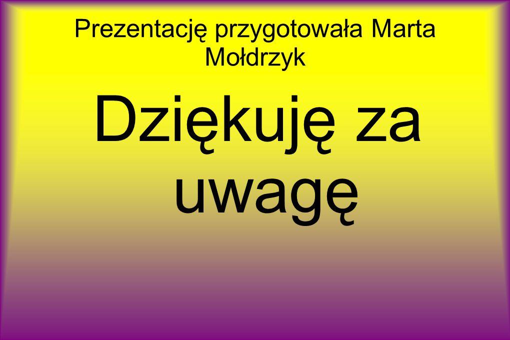 Prezentację przygotowała Marta Mołdrzyk Dziękuję za uwagę