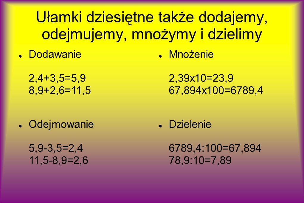 Ułamki dziesiętne także dodajemy, odejmujemy, mnożymy i dzielimy Dodawanie 2,4+3,5=5,9 8,9+2,6=11,5 Mnożenie 2,39x10=23,9 67,894x100=6789,4 Dzielenie