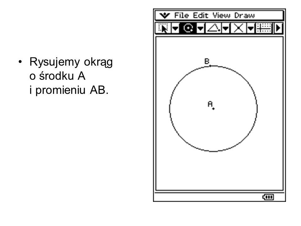 Rysujemy okrąg o środku A i promieniu AB.