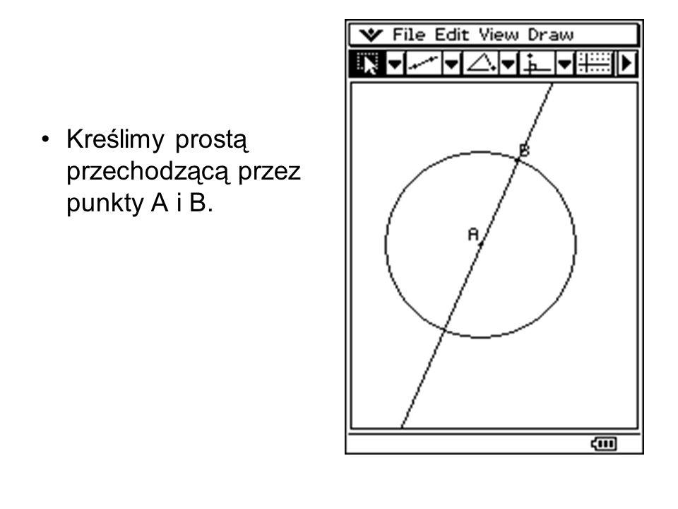 W punkcie B konstruujemy prostą prostopadłą do prostej AB.