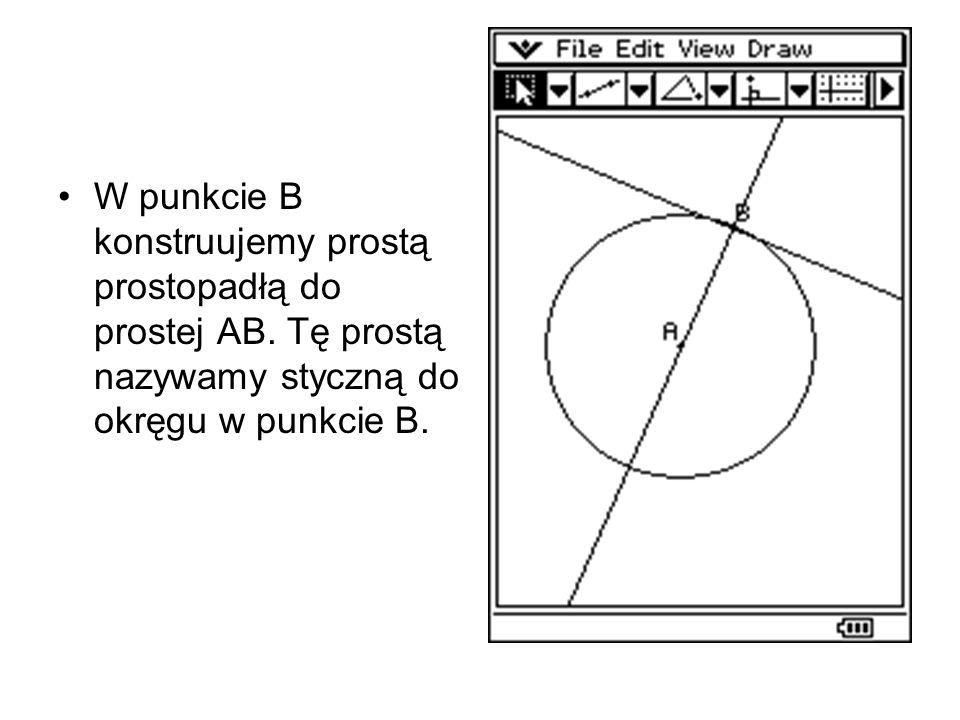 Tym razem kreślimy okrąg o środku A, promieniu AB i zaznaczamy dowolny punkt C, leżący poza okręgiem.