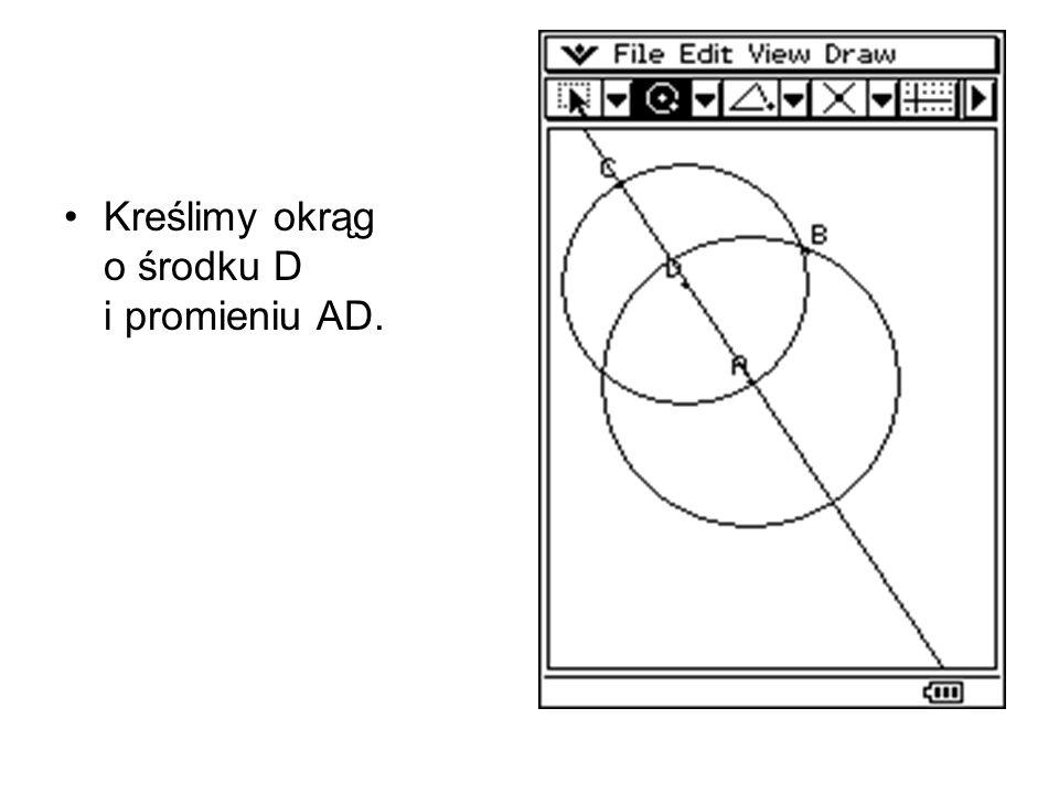 Punkty przecięcia obu okręgów wyznaczają punkty styczności dla prostych przechodzących przez punkt C, stycznych do okręgu O(A,AB).
