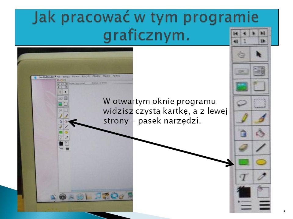 W otwartym oknie programu widzisz czystą kartkę, a z lewej strony - pasek narzędzi. 5