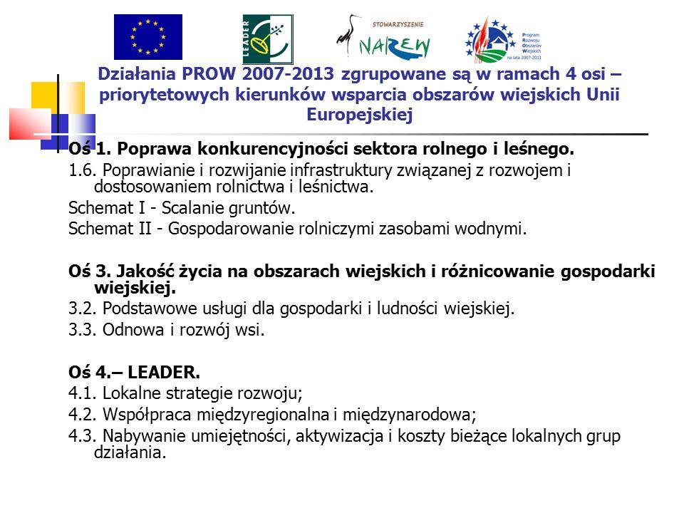 Działania PROW 2007-2013 zgrupowane są w ramach 4 osi – priorytetowych kierunków wsparcia obszarów wiejskich Unii Europejskiej Oś 1.