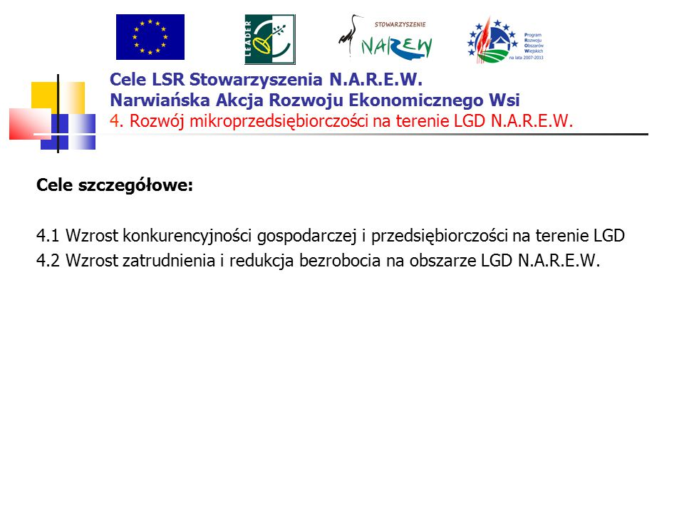 Cele LSR Stowarzyszenia N.A.R.E.W. Narwiańska Akcja Rozwoju Ekonomicznego Wsi 4.