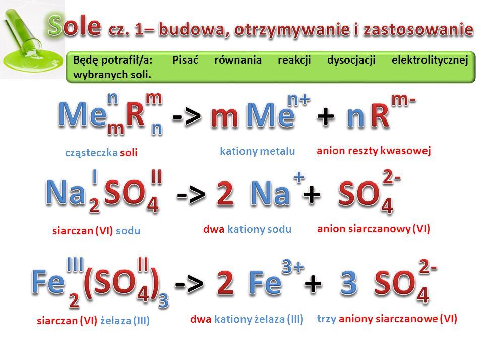 cząsteczka soli kationy metalu anion reszty kwasowej siarczan (VI) sodu dwa kationy sodu anion siarczanowy (VI) siarczan (VI) żelaza (III) dwa kationy