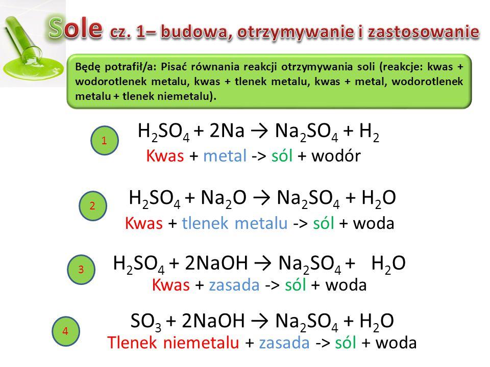 SO 3 + 2NaOH → Na 2 SO 4 + H 2 O Będę potrafił/a: Pisać równania reakcji otrzymywania soli (reakcje: kwas + wodorotlenek metalu, kwas + tlenek metalu,