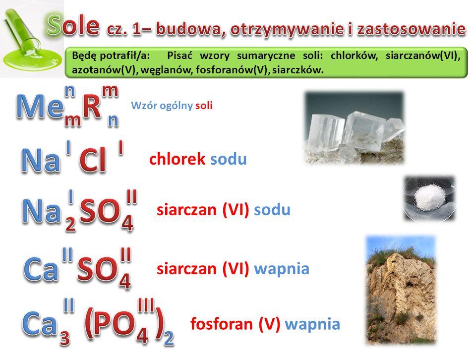 Będę potrafił/a:Pisać wzory sumaryczne soli: chlorków, siarczanów(VI), azotanów(V), węglanów, fosforanów(V), siarczków. Wzór ogólny soli chlorek sodu