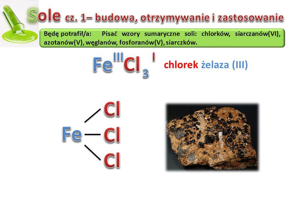 Będę potrafił/a:Pisać wzory sumaryczne soli: chlorków, siarczanów(VI), azotanów(V), węglanów, fosforanów(V), siarczków. chlorek żelaza (III)
