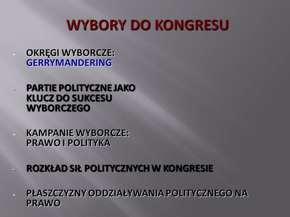 - OKRĘGI WYBORCZE: GERRYMANDERING - PARTIE POLITYCZNE JAKO KLUCZ DO SUKCESU WYBORCZEGO - KAMPANIE WYBORCZE: PRAWO I POLITYKA - ROZKŁAD SIŁ POLITYCZNYC