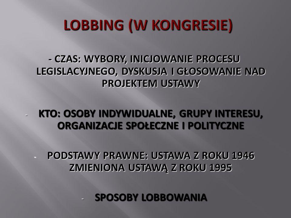LOBBING (W KONGRESIE) - CZAS: WYBORY, INICJOWANIE PROCESU LEGISLACYJNEGO, DYSKUSJA I GŁOSOWANIE NAD PROJEKTEM USTAWY - KTO: OSOBY INDYWIDUALNE, GRUPY