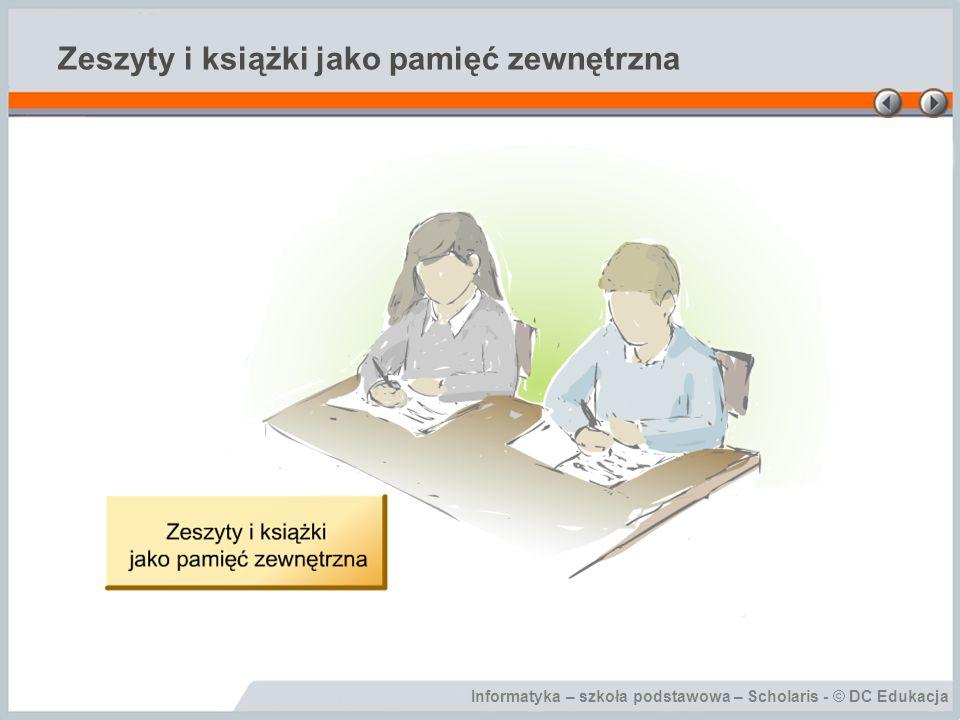 Informatyka – szkoła podstawowa – Scholaris - © DC Edukacja Zeszyty i książki jako pamięć zewnętrzna