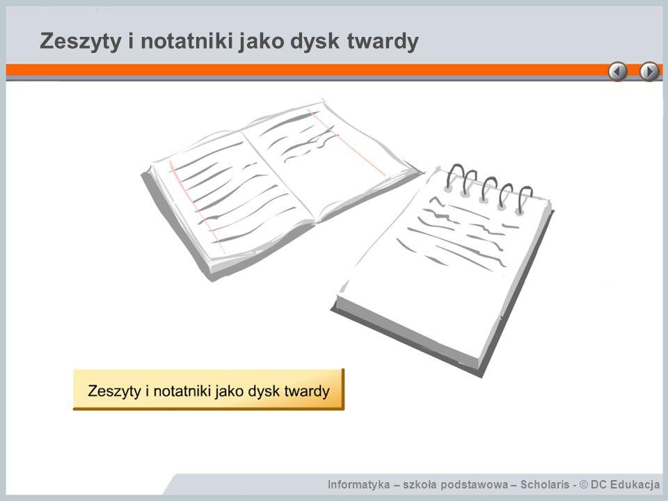 Informatyka – szkoła podstawowa – Scholaris - © DC Edukacja Zeszyty i notatniki jako dysk twardy