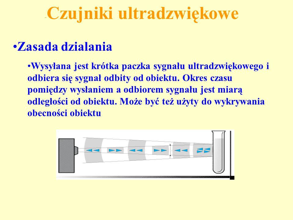 - Czujniki ultradzwiękowe Zasada dzialania Wysyłana jest krótka paczka sygnału ultradzwiękowego i odbiera się sygnał odbity od obiektu. Okres czasu po
