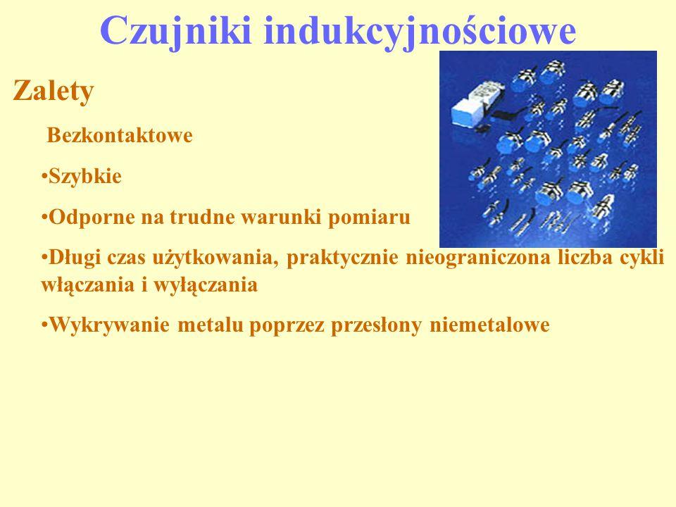 Czujniki indukcyjnościowe Zalety Bezkontaktowe Szybkie Odporne na trudne warunki pomiaru Długi czas użytkowania, praktycznie nieograniczona liczba cyk