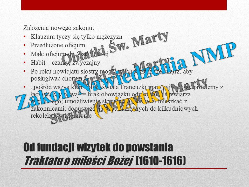 Od fundacji wizytek do powstania Traktatu o miłości Bożej (1610-1616) Założenia nowego zakonu: Klauzura tyczy się tylko mężczyzn Przedłużone oficjum M