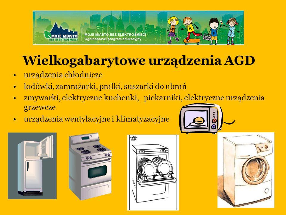 Wielkogabarytowe urządzenia AGD urządzenia chłodnicze lodówki, zamrażarki, pralki, suszarki do ubrań zmywarki, elektryczne kuchenki, piekarniki, elektryczne urządzenia grzewcze urządzenia wentylacyjne i klimatyzacyjne