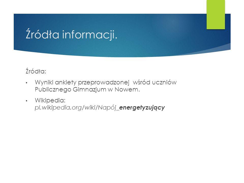 Źródła informacji. Źródła: Wyniki ankiety przeprowadzonej wśród uczniów Publicznego Gimnazjum w Nowem. Wikipedia: pl.wikipedia.org/wiki/Napój_ energet