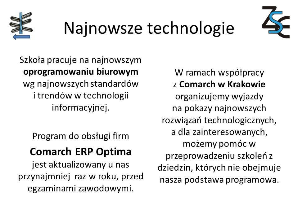 Najnowsze technologie Szkoła pracuje na najnowszym oprogramowaniu biurowym wg najnowszych standardów i trendów w technologii informacyjnej.