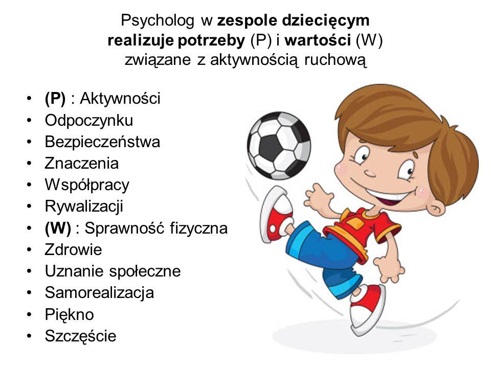 Psycholog w zespole dziecięcym realizuje potrzeby (P) i wartości (W) związane z aktywnością ruchową (P) : Aktywności Odpoczynku Bezpieczeństwa Znaczen
