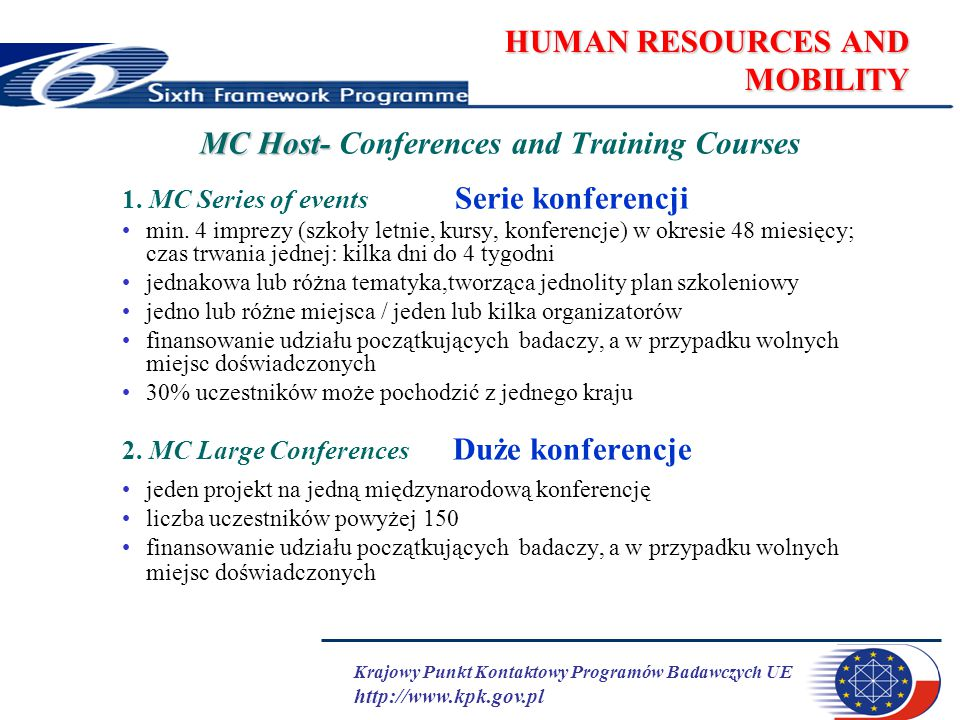 Krajowy Punkt Kontaktowy Programów Badawczych UE http://www.kpk.gov.pl HUMAN RESOURCES AND MOBILITY MC Host- MC Host- Conferences and Training Courses