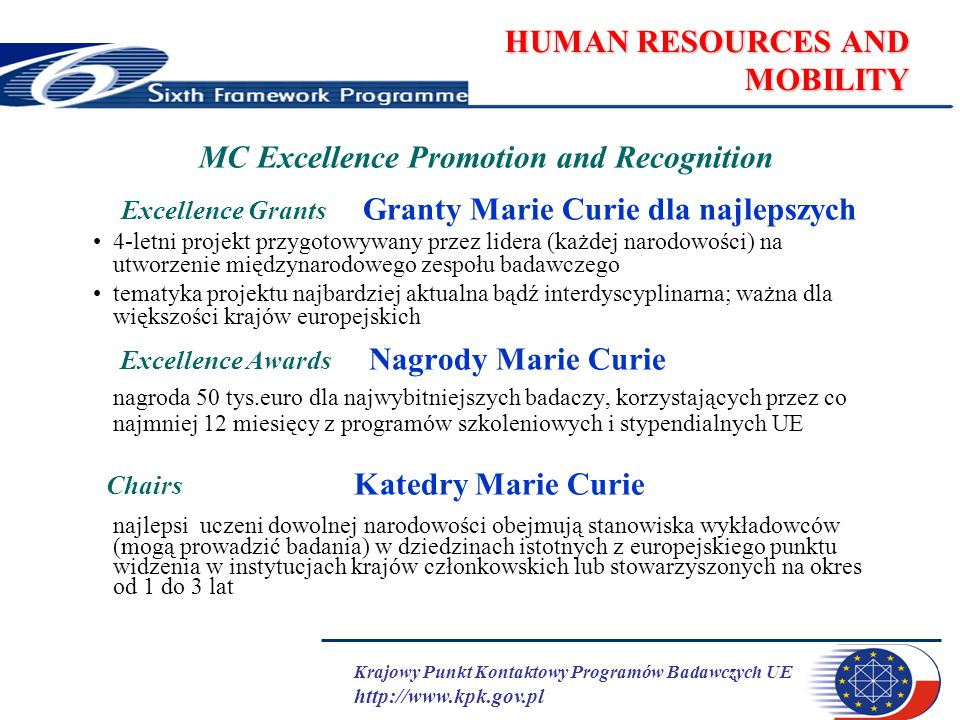 Krajowy Punkt Kontaktowy Programów Badawczych UE http://www.kpk.gov.pl HUMAN RESOURCES AND MOBILITY MC Excellence Promotion and Recognition Excellence