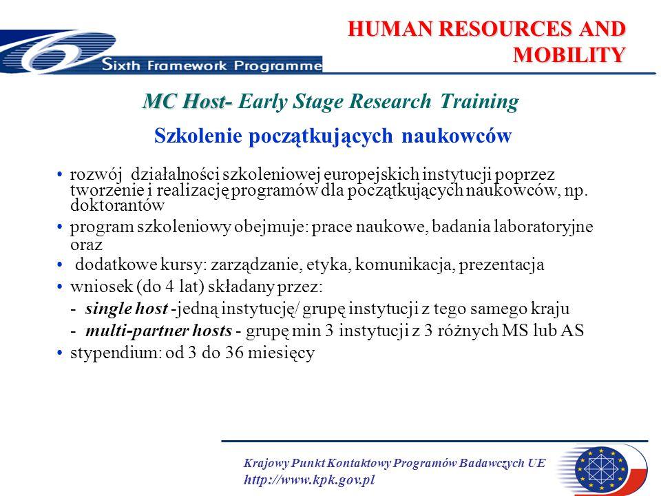 Krajowy Punkt Kontaktowy Programów Badawczych UE http://www.kpk.gov.pl HUMAN RESOURCES AND MOBILITY MC Host- MC Host- Transfer of Knowledge (1) Transfer Wiedzy uruchomienie nowej tematyki badań lub rozwój obecnego potencjału naukowo-technicznego poprzez transfer wiedzy przez doświadczonych naukowców projekt: do 4 lat 1.