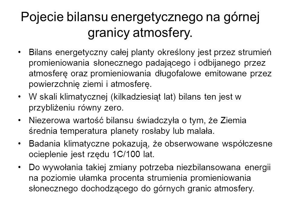 Pojecie bilansu energetycznego na górnej granicy atmosfery. Bilans energetyczny całej planty określony jest przez strumień promieniowania słonecznego