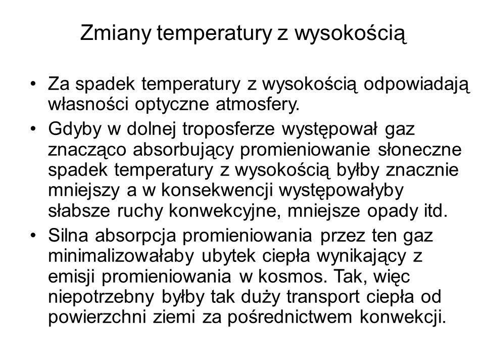 Zmiany temperatury z wysokością Za spadek temperatury z wysokością odpowiadają własności optyczne atmosfery. Gdyby w dolnej troposferze występował gaz