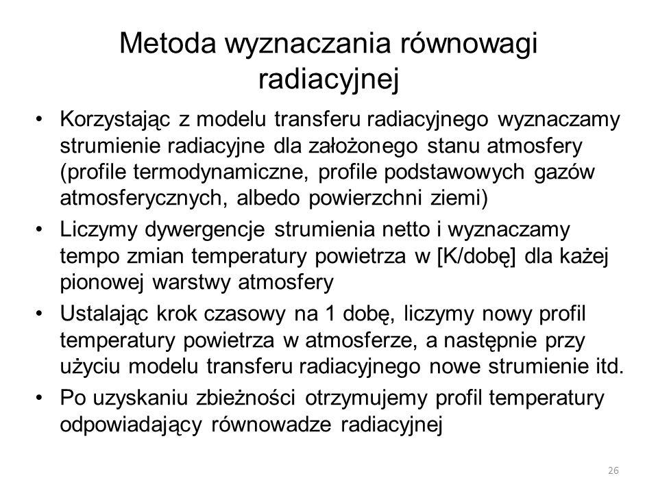 Metoda wyznaczania równowagi radiacyjnej Korzystając z modelu transferu radiacyjnego wyznaczamy strumienie radiacyjne dla założonego stanu atmosfery (