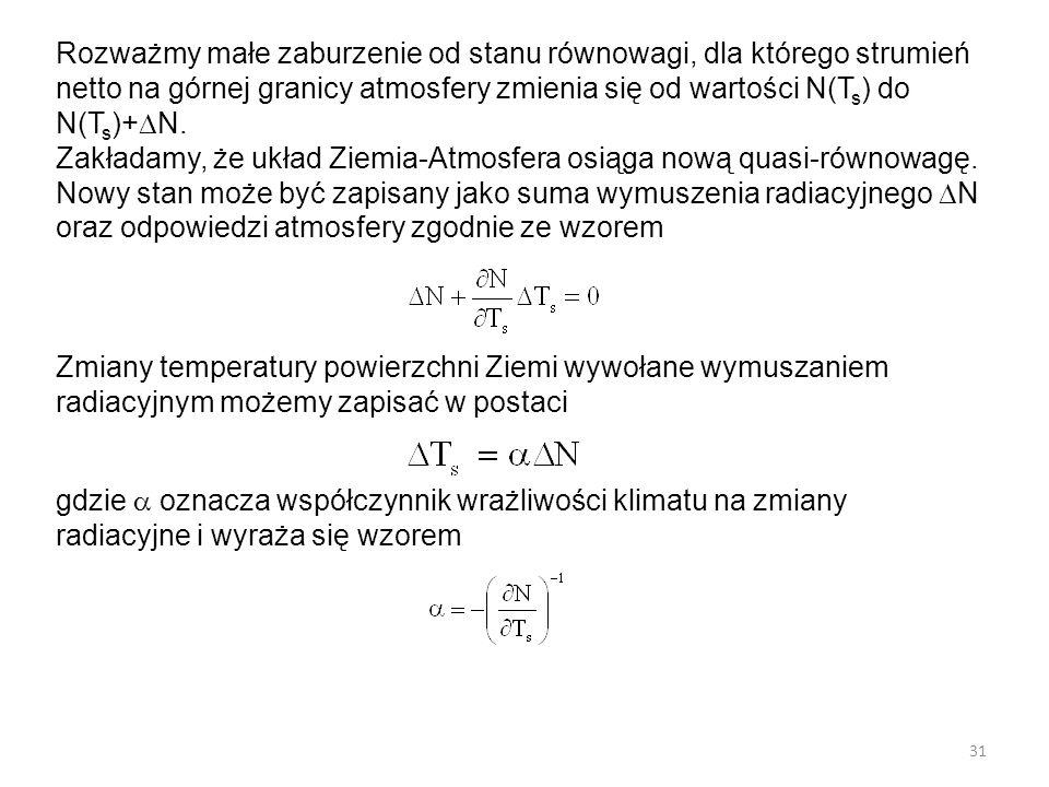 31 Rozważmy małe zaburzenie od stanu równowagi, dla którego strumień netto na górnej granicy atmosfery zmienia się od wartości N(T s ) do N(T s )+  N