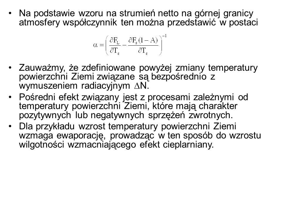 Na podstawie wzoru na strumień netto na górnej granicy atmosfery współczynnik ten można przedstawić w postaci Zauważmy, że zdefiniowane powyżej zmiany