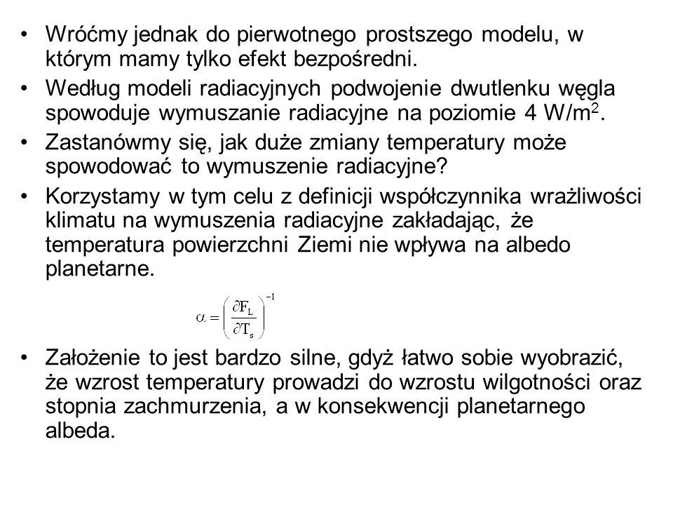 Wróćmy jednak do pierwotnego prostszego modelu, w którym mamy tylko efekt bezpośredni. Według modeli radiacyjnych podwojenie dwutlenku węgla spowoduje