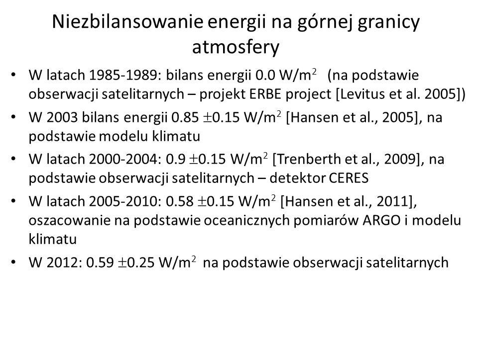 Niezbilansowanie energii na górnej granicy atmosfery W latach 1985-1989: bilans energii 0.0 W/m 2 (na podstawie obserwacji satelitarnych – projekt ERB