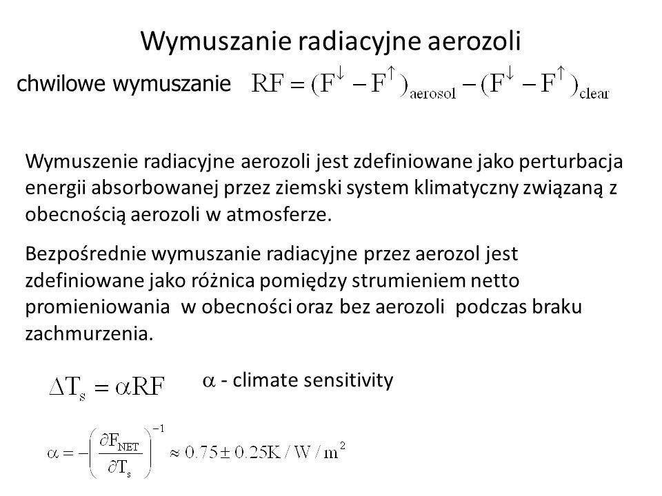 Wymuszanie radiacyjne aerozoli chwilowe wymuszanie  - climate sensitivity Wymuszenie radiacyjne aerozoli jest zdefiniowane jako perturbacja energii a