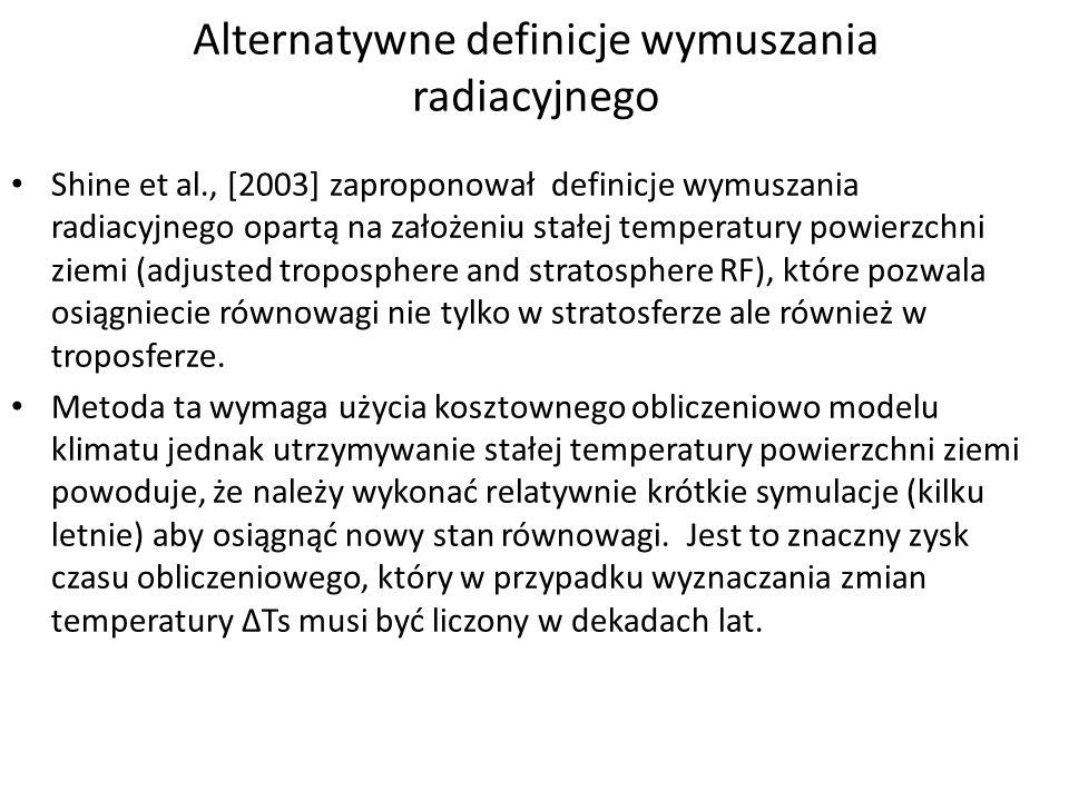 Alternatywne definicje wymuszania radiacyjnego Shine et al., [2003] zaproponował definicje wymuszania radiacyjnego opartą na założeniu stałej temperat
