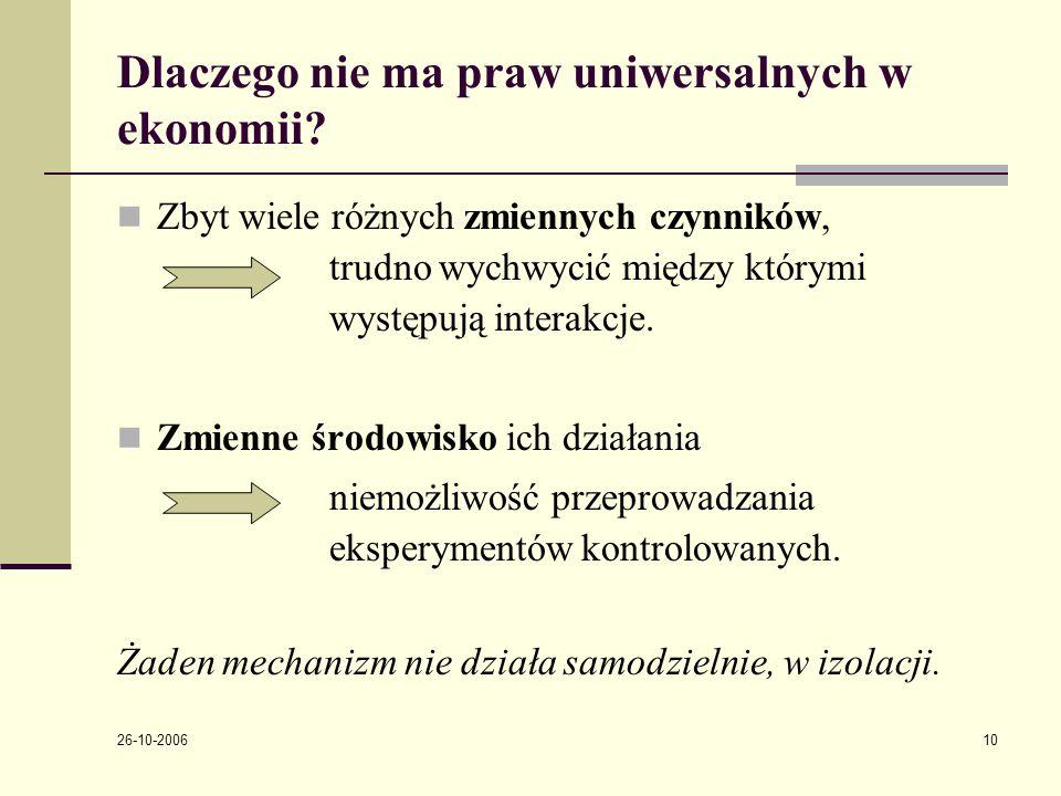 26-10-2006 10 Dlaczego nie ma praw uniwersalnych w ekonomii.