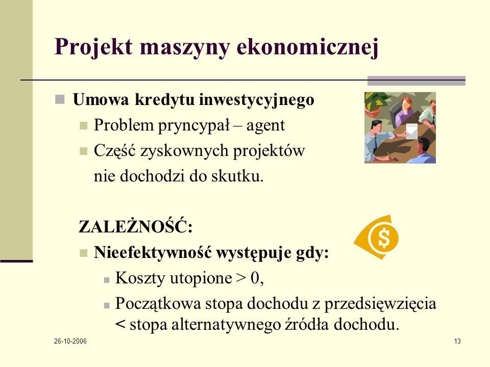 26-10-2006 13 Projekt maszyny ekonomicznej Umowa kredytu inwestycyjnego Problem pryncypał – agent Część zyskownych projektόw nie dochodzi do skutku.