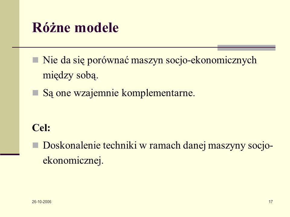 26-10-2006 17 Rόżne modele Nie da się porόwnać maszyn socjo-ekonomicznych między sobą.