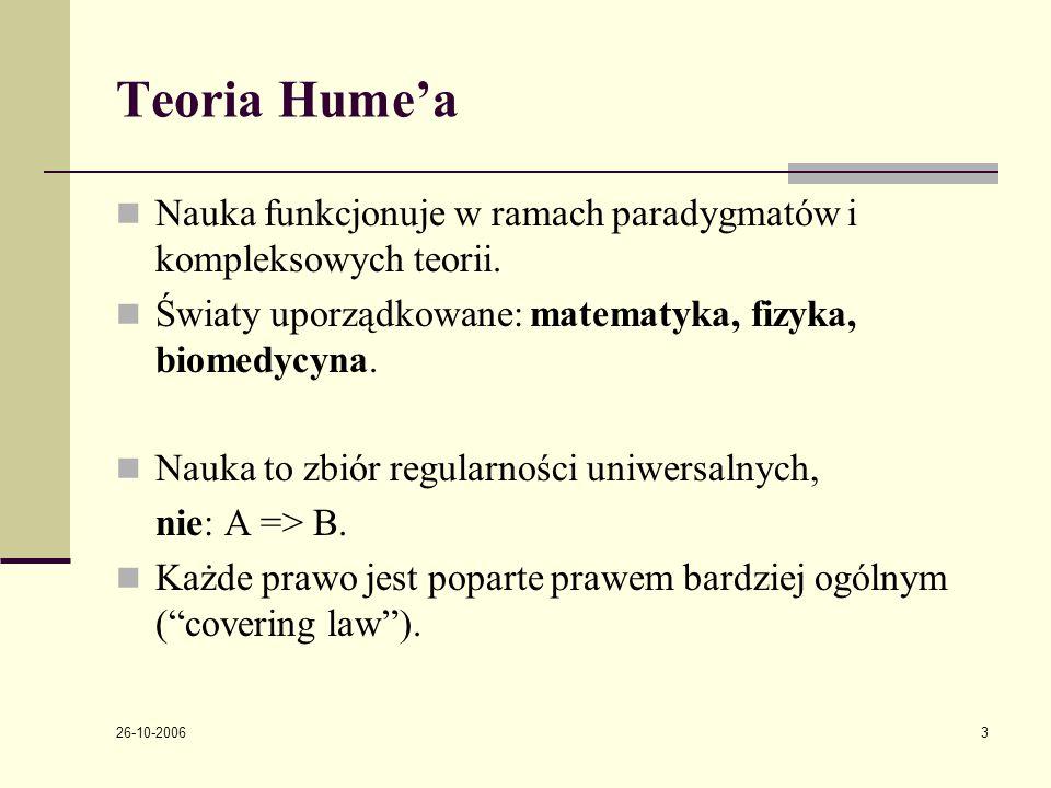 26-10-2006 3 Teoria Hume'a Nauka funkcjonuje w ramach paradygmatόw i kompleksowych teorii.