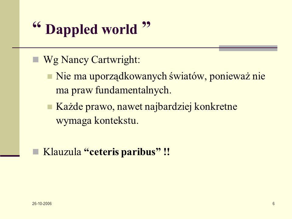 26-10-2006 6 Dappled world Wg Nancy Cartwright: Nie ma uporządkowanych światόw, ponieważ nie ma praw fundamentalnych.