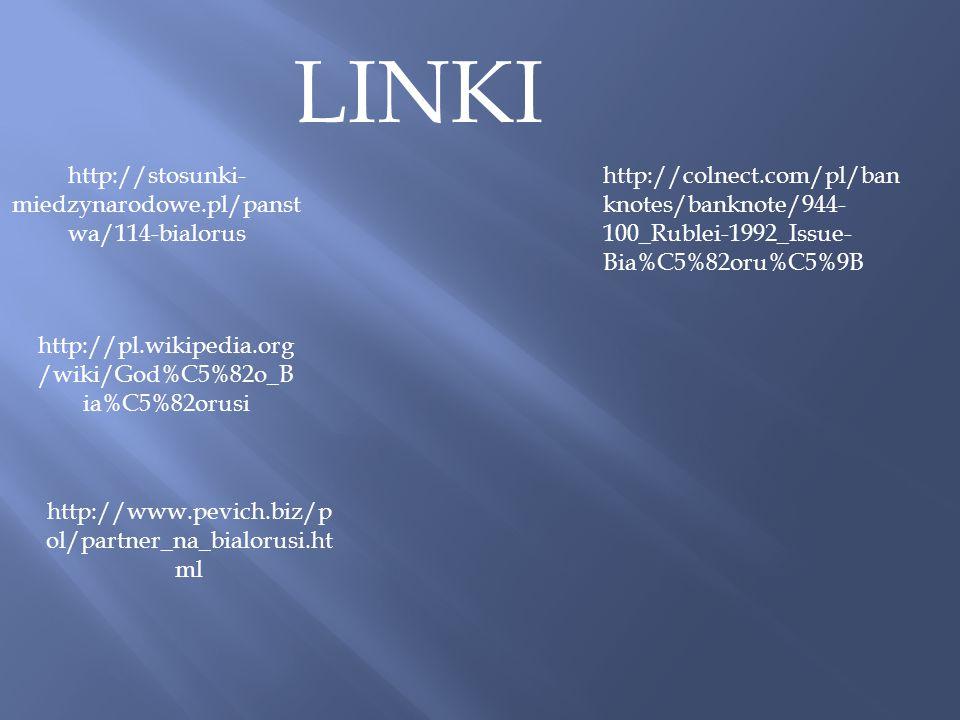 LINKI http://stosunki- miedzynarodowe.pl/panst wa/114-bialorus http://pl.wikipedia.org /wiki/God%C5%82o_B ia%C5%82orusi http://www.pevich.biz/p ol/par