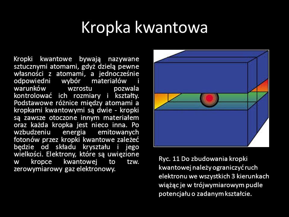 Kropka kwantowa Kropki kwantowe bywają nazywane sztucznymi atomami, gdyż dzielą pewne własności z atomami, a jednocześnie odpowiedni wybór materiałów