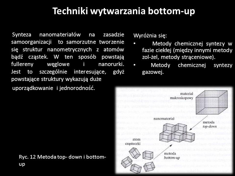 Techniki wytwarzania bottom-up Wyróżnia się: Metody chemicznej syntezy w fazie ciekłej (między innymi metody zol-żel, metody strąceniowe). Metody chem