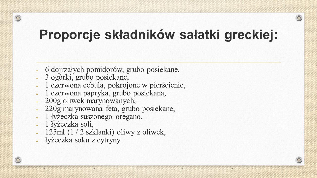 Proporcje składników sałatki greckiej:  6 dojrzałych pomidorów, grubo posiekane,  3 ogórki, grubo posiekane,  1 czerwona cebula, pokrojone w pierścienie,  1 czerwona papryka, grubo posiekana,  200g oliwek marynowanych,  220g marynowana feta, grubo posiekane,  1 łyżeczka suszonego oregano,  1 łyżeczka soli,  125ml (1 / 2 szklanki) oliwy z oliwek,  łyżeczka soku z cytryny