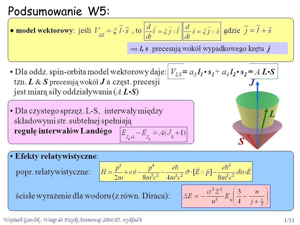 Wojciech Gawlik - Wstęp do Fizyki Atomowej, 2004/05. wykład 61/11 J L S Dla oddz. spin-orbita model wektorowy daje: V LS = a 3 l 1 s 1 + a 4 l 2 s 2 =