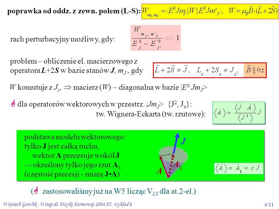 Wojciech Gawlik - Wstęp do Fizyki Atomowej, 2004/05. wykład 64/11 poprawka od oddz. z zewn. polem (L-S): W komutuje z J z,  macierz (W) – diagonalna