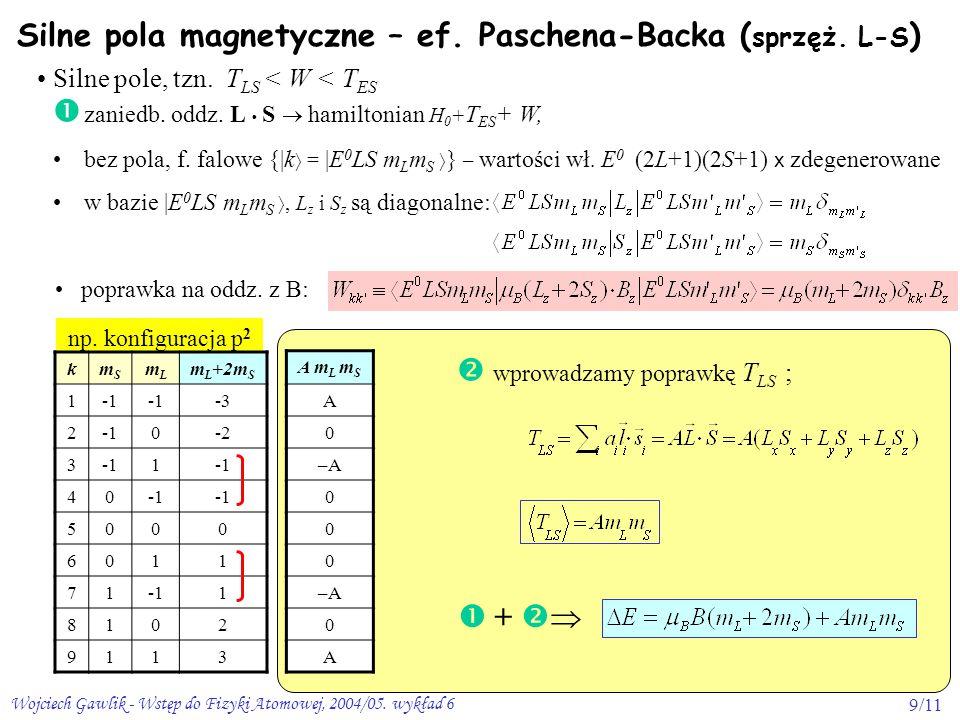 Wojciech Gawlik - Wstęp do Fizyki Atomowej, 2004/05. wykład 69/11 np. konfiguracja p 2  wprowadzamy poprawkę T LS ; Silne pola magnetyczne – ef. Pasc